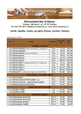Ceník Ponal, Ceresit, Pattex, Chemopr%