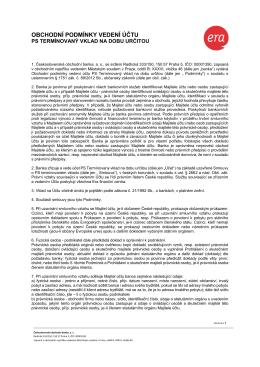 Obchodní podmínky vedení účtu PS termínovaný vklad na