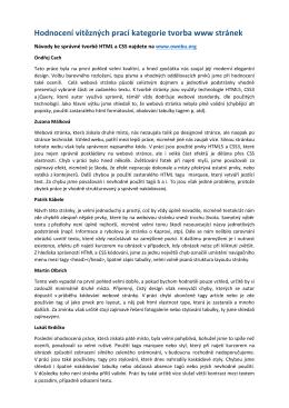 Hodnocení vítězných prací kategorie tvorba www stránek