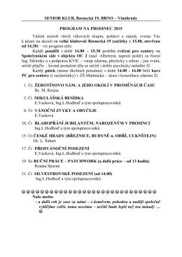 SENIOR KLUB - Program ÚNOR 2010 - Vinohrady