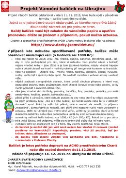 Projekt Vánoční balíček na Ukrajinu