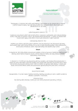 Gastro kalendář Horský hotel Sepetná