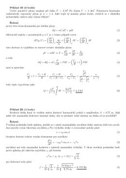 Příklad 1B (6 bodů) Určité množství plynu zaujímá při tlaku
