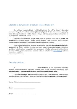 Žádost o snížený členský příspěvek - důchod nebo ZTP - JM