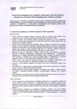 Technické požadavky pro napojení vodovodní nebo kanalizační
