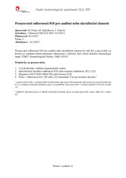 Posuzovatel odbornosti 818 pro auditní nebo akreditační činnosti