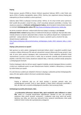 Informace o dopingu - Česká asociace squashe