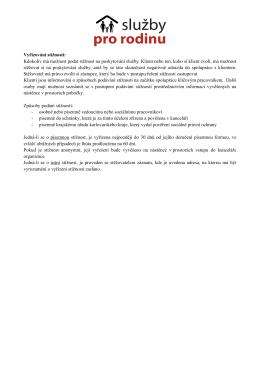 Vyřizování stížností - Služby pro rodinu, z.ú.
