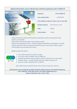 Základní Photovoltaic system 4,80 kW nebo 4,94 kW