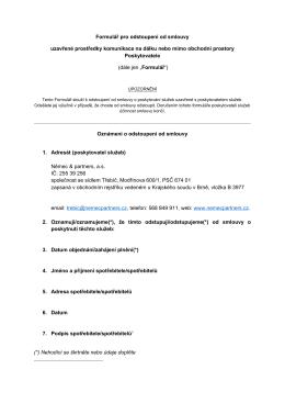 Formulář pro odstoupení od smlouvy uzavřené