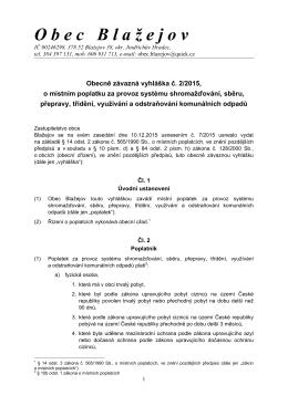 Obecně závazná vyhláška č. 2/2015, o místním poplatku