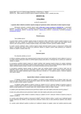 Vyhláška č. 405/2015 o způsobu dělení nákladů za