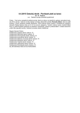 4.4.2015 Ústecký deník - Pavlásek platí za tanec