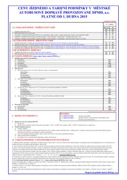 Úplné znění tarifních a smluvních přepravních podmínek pro