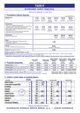 Ceník lodní dopravy na Brněnské přehradě pro rok 2015