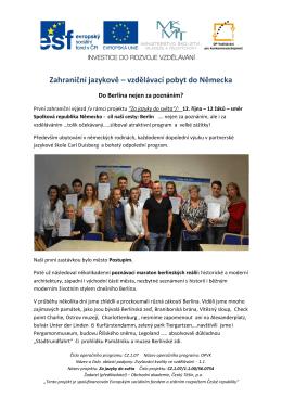 výjezd žáků do Německa - Obchodní akademie Český Těšín