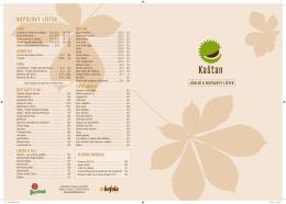 Menu restaurace Kaštan v českém jazyce.