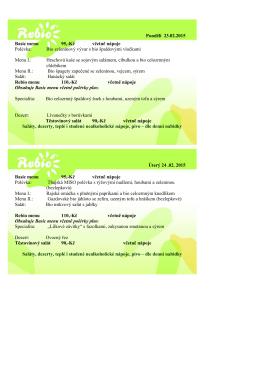 jídelníček penzion 23-27.2 2015