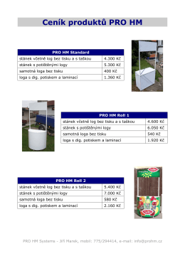 Ceník produktů PRO HM