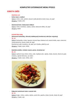 prohlédnout složení jídel a seznam alergenů