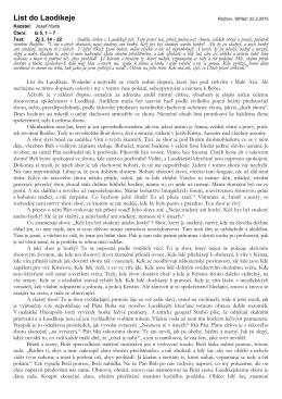 List do Laodikeje - 1. neděle postní