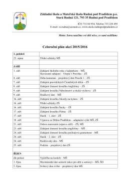 Celoroční plán akcí 2015/2016