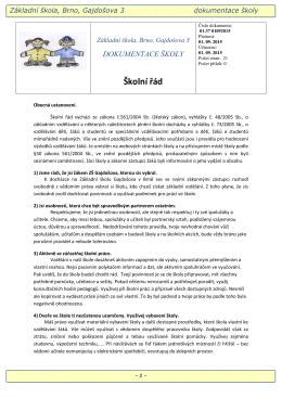 Školní řád - ZŠ Gajdošova