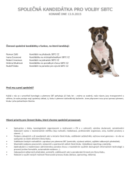 Roman Záliš - Staffordshire Bull Terrier Club CZ