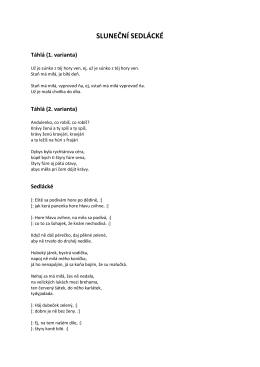Sedlácké - Sluneční - texty