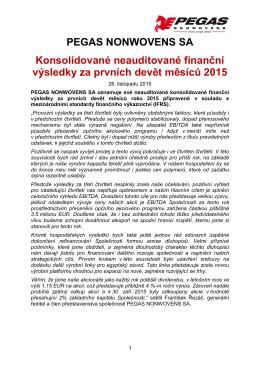 Finanční výsledky za třetí čtvrtletí 2015