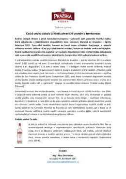 Česká vodka získala již třetí zahraniční ocenění v
