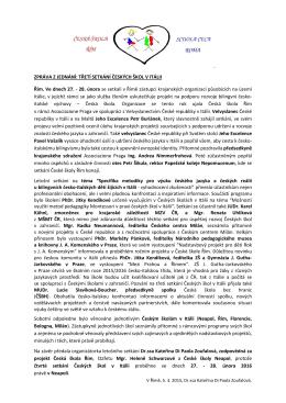 ZPRÁVA Z JEDNÁNÍ: TŘETÍ SETKÁNÍ ČESKÝCH ŠKOL V ITÁLII
