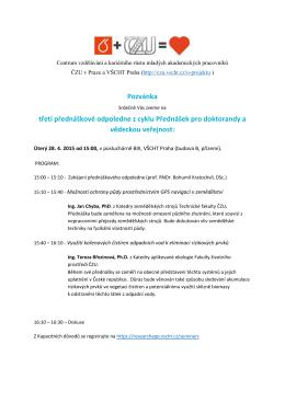 Pozvánka třetí přednáškové odpoledne z cyklu Přednášek pro