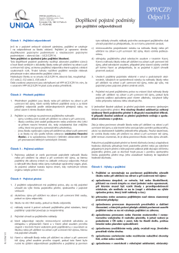 Doplňkové pojistné podmínky pro pojištění odpovědnosti