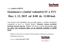 Oznámení o výměně vodoměrů SV a TUV Dne: 1. 12. 2015 od 8:00