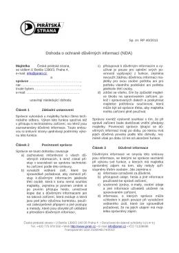 Dohoda o ochraně důvěrných informací (NDA)