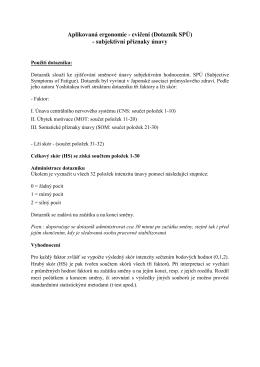 Aplikovaná ergonomie - cvičení (Dotazník SPÚ)