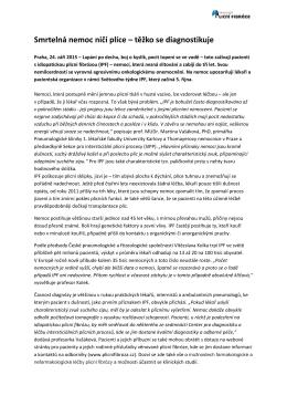 tisková zpráva - Sdružení pacientů s idiopatickou plicní fibrózou