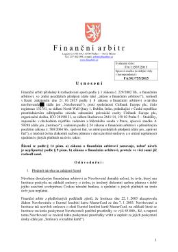 Usnesení o zastavení řízení ze dne 19. 11. 2015 vydané pod