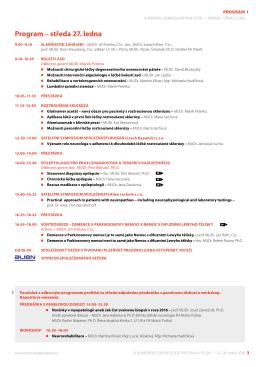 Program – středa 27. ledna