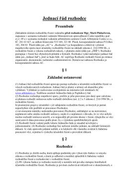 Jednací řád rozhodce Mgr. Marie Pluhařové