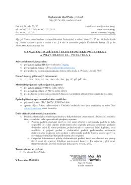 Oznámení o zřízení elektronické podatelny a pravidlech elektronické