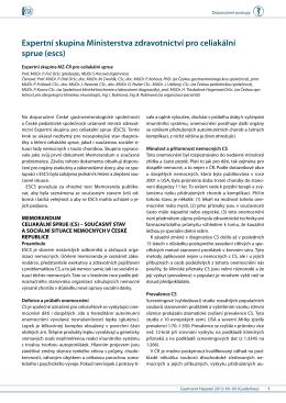 Expertní skupina Ministerstva zdravotnictví pro celiakální sprue (escs)