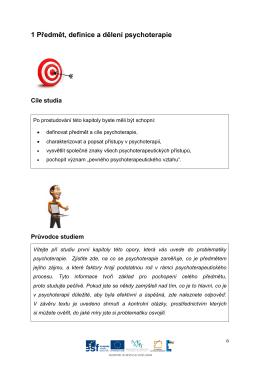 1 Předmět, definice a dělení psychoterapie