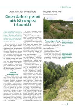 Obnova těžebních prostorů může být ekologická i ekonomická