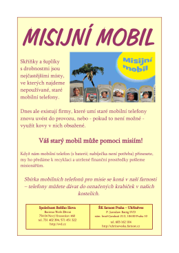 Váš starý mobil může pomoci misiím! - Uhříněves