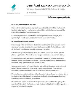 Informace pro pacienta - Dentální klinika Jan Stuchlík