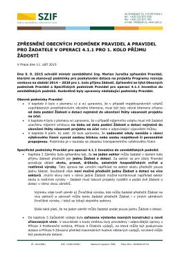 Zpřesnění Obecných podmínek Pravidel a Pravidel pro žadatele v
