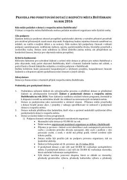 Pravidla pro poskytování dotací z rozpočtu města Buštěhradu na rok