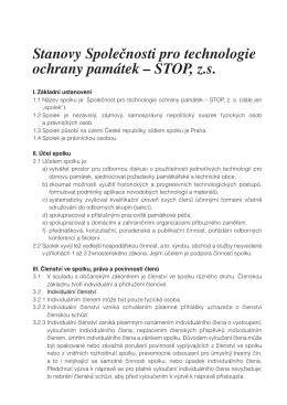 Stanovy Společnosti pro technologie ochrany památek – STOP, z s.